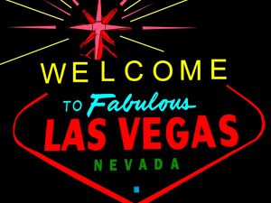Vector graphic of the Welcome to Las Vegas sign in vivid neon colors